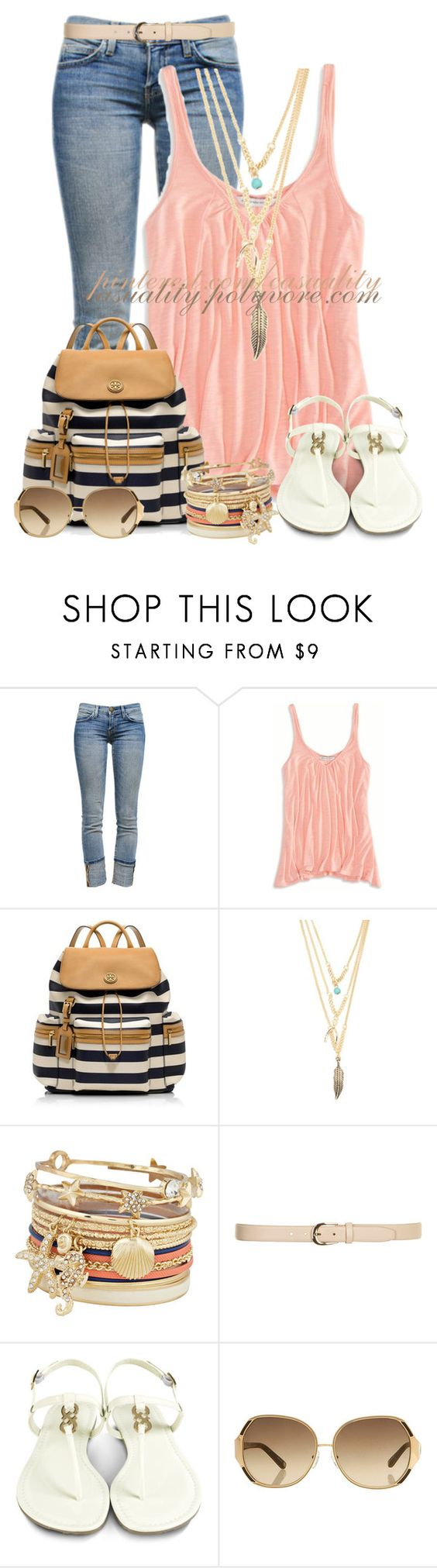 """""""Summer Boardwalk Chic"""" by casuality ❤ liked on Polyvore featuring Current/Elliott, American Eagle Outfitters, Tory Burch, With Love From CA, ALDO, Dorothy Perkins, Cole Haan, Oscar de la Renta, women's clothing and women's fashion"""