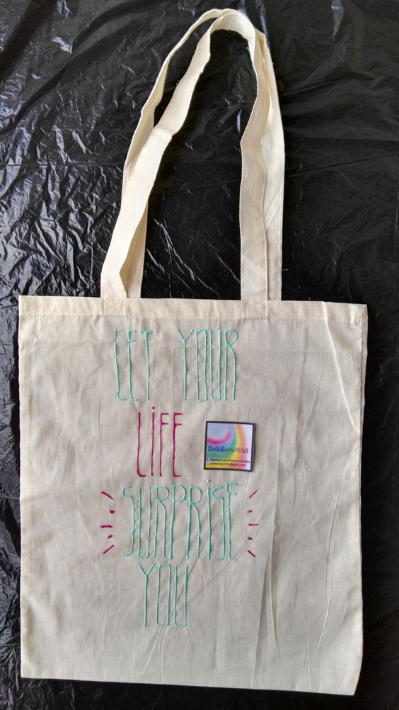Let your life surprise you. Puffy paint. Cotton tote canvas bag shopper. Grean…