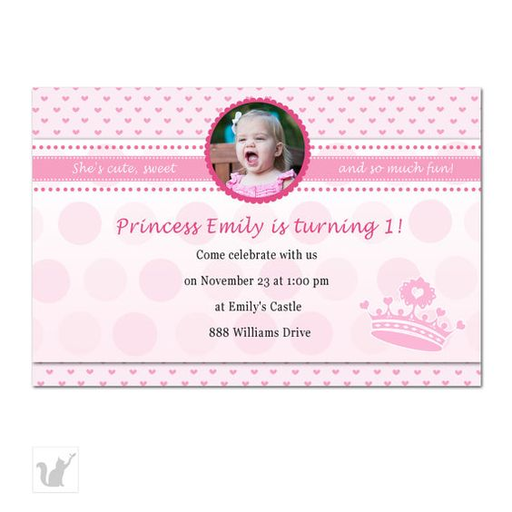 Princess Birthday Invitation Photo Card for Girl Custom 1st – Custom 1st Birthday Invitations