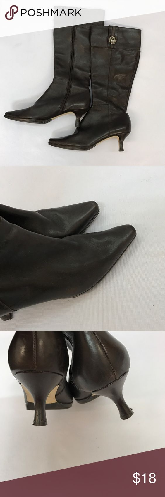 Tahari leather boots sz 6.5 Tahari leather boots. Sz 6.5, good condition. Brown leather. Tahari Shoes Heels