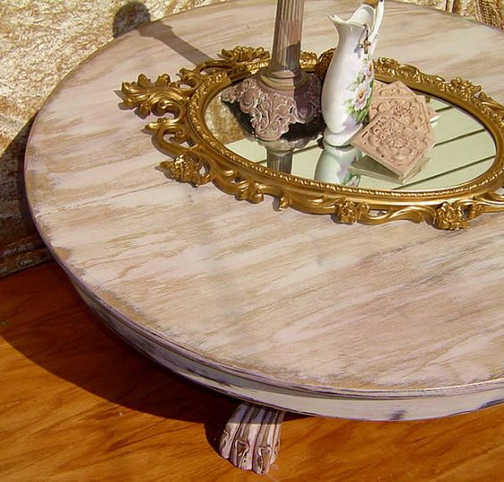 Round Glass Pedestal Coffee Table: With Pedestal Claw Foot Base Painted