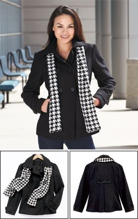 Ladies Black Wool blend Coat & Scarf Set ** S, M, L, XL