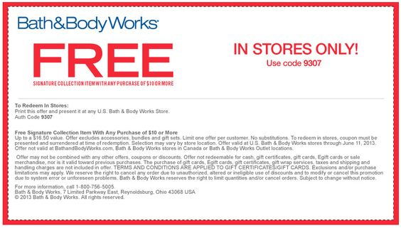 Pinned June 8th: $16 signature item free with $10 spent at Bath & Body Works coupon via The Coupons App