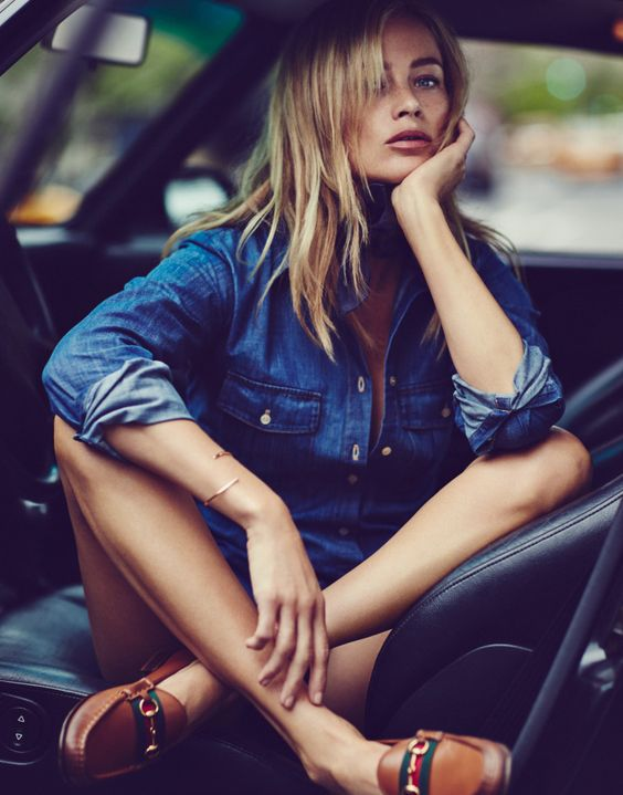 Denim + classic Gucci loafers (Carolyn Murphy by Emma Tempest for The Edit May 2015):