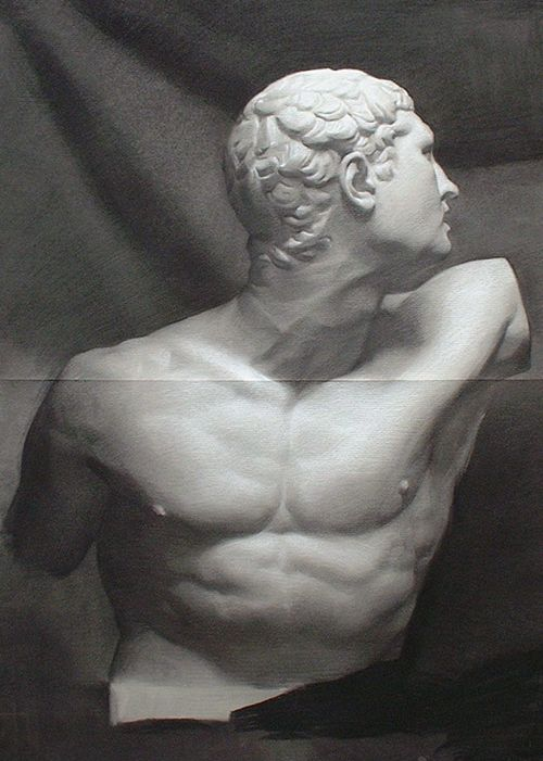 Andrew Ameral (taught at Florence Academy) Drawing From A Cast - chalk and charcoal on toned paper, 67 x 92cm (2003)
