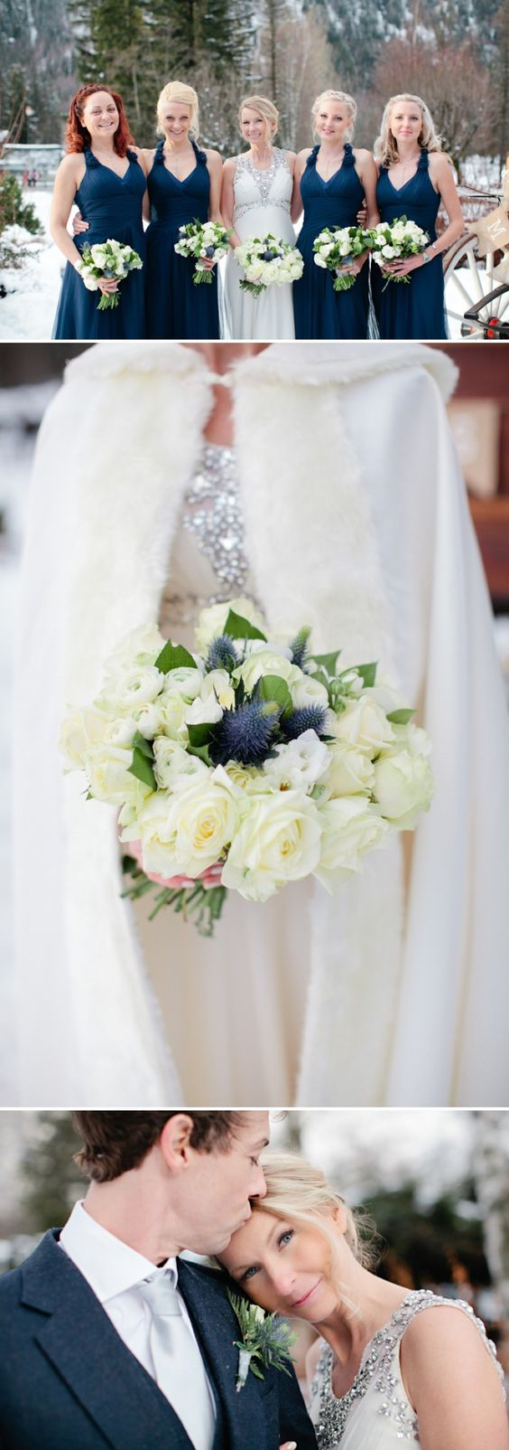 A Snowy Winter Wedding With A Jenny Packham Muscari Dress And Navy Bridesmaid Dresses And A White Rose Bouquet In Chamonix France Photographed By Helen Cawte. 0008