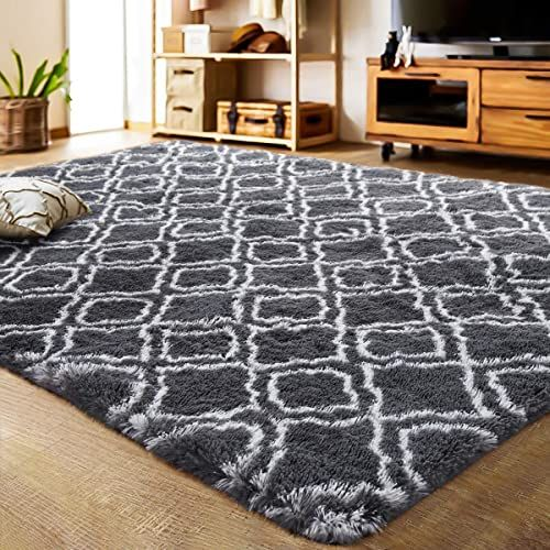 The Perfect Lochas Luxury Velvet Shag Area Rug Modern Indoor Plush Fluffy Rugs Extra Soft And Comfy Carpet Geometric In 2020 Fluffy Rug Bedroom Rug Modern Area Rugs