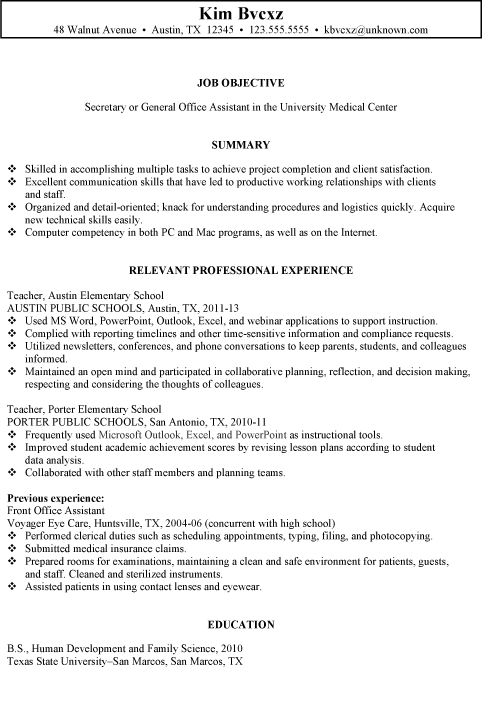 77 Luxury Stock Of Resume Summary Examples Office Administration