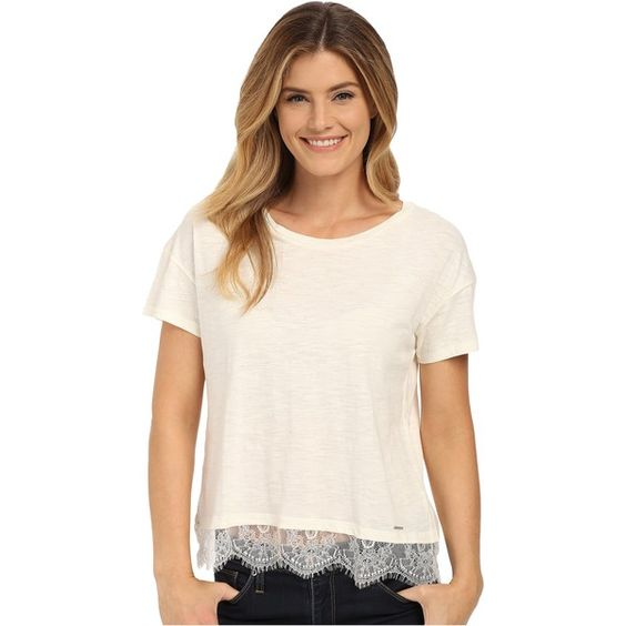 U.S. POLO ASSN. Lace Hem Crew Neck M lange T-Shirt Women's T Shirt,... ($13) ❤ liked on Polyvore featuring tops, t-shirts, beige, pink t shirt, crew t-shirt, crewneck t-shirt, crewneck tee and lace t shirt