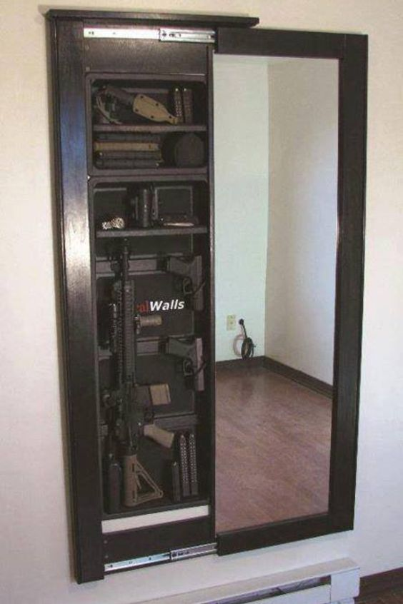 Gun safe behind wall mirror love it diy pinterest for Hidden gun room