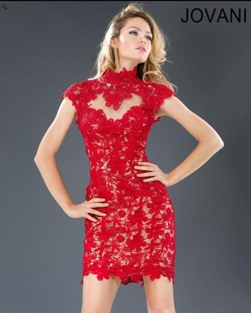 Red Lace Cocktail Dress - Ocodea.com