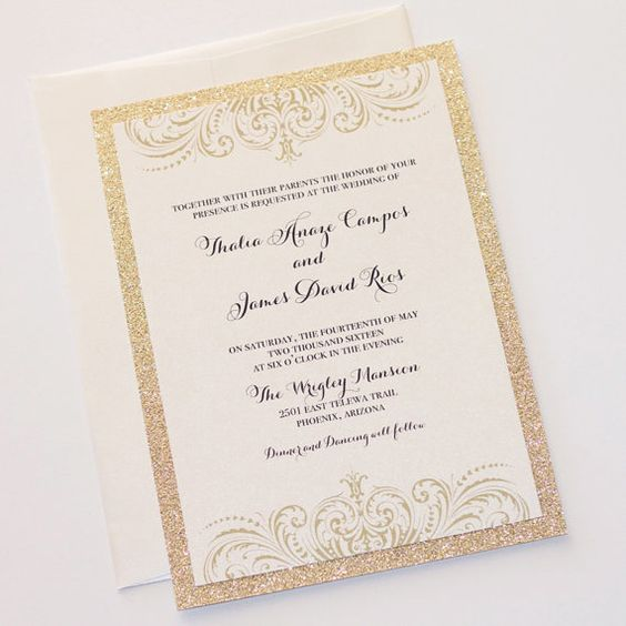 modern gold and silver glitter wedding invitation suite created by