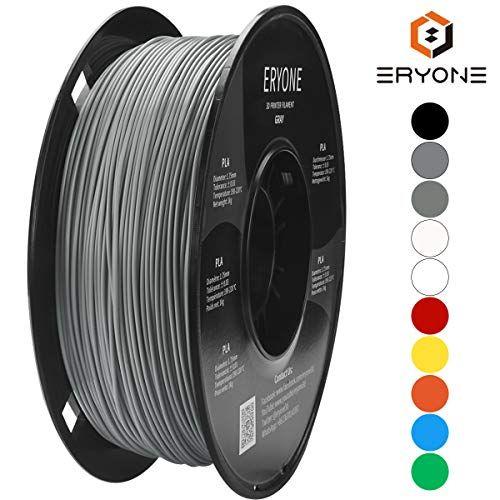 ERYONE Filament PLA 1.75mm,PLA 1.75mm Filament Grey 3D Printing Filament PLA for 3D Printer 1kg 1 Spool PLA Grey Normal Winding