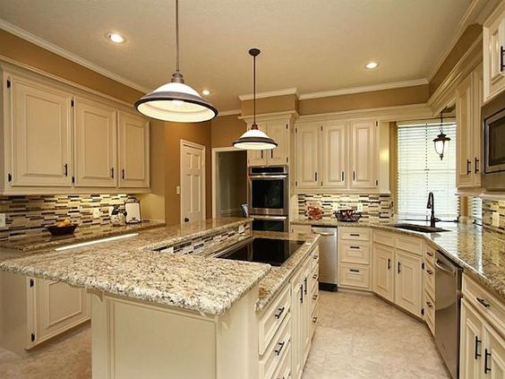 santa cecilia granite white cabinets backsplash ideas inspiration for