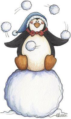 http://media-cache-ec0.pinimg.com/236x/e4/75/79/e475790692a8c3fdc3e2234fb5eb3926.jpg - penguin juggleing snow balls