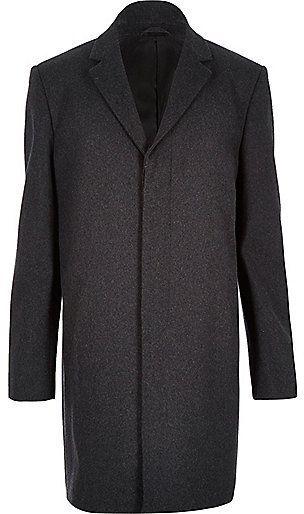 River Island MensDark grey wool-blend overcoat