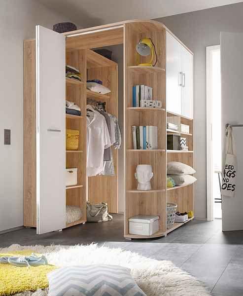 Eckkleiderschrank, Innen mit Kleiderstange, Haken und ...
