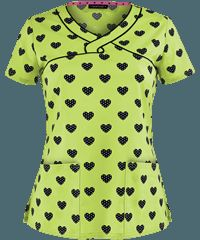 Heartsoul Dot Of Love Lime Junior Fit Print Scrub Top