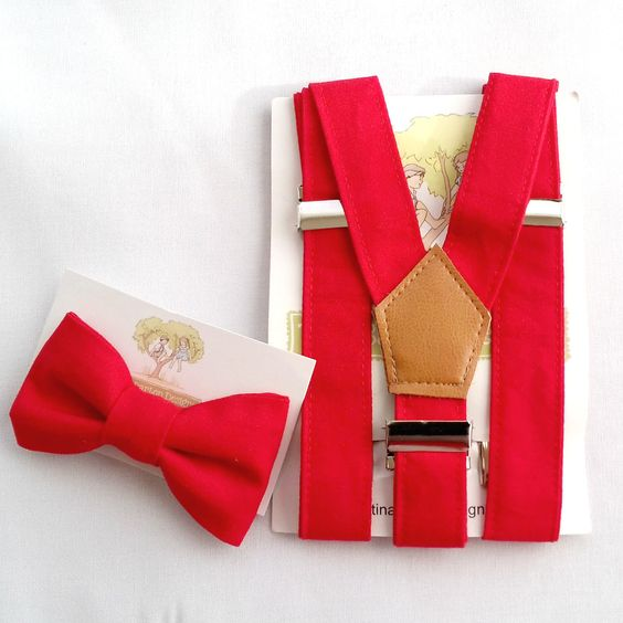 Little Boys Red Suspenders and Bow Tie Set.  Christmas accessory or just for fun! - pinned by pin4etsy.com