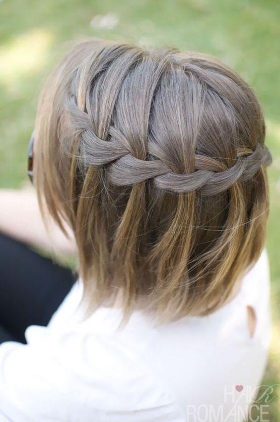 Ideia de penteado, penteado para cabelo curto, trança cachoeira, waterfall braid: