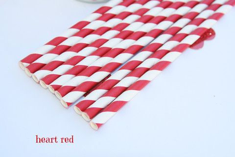 Red Stripe Paper Straws Valentines Day, Christmas, Circus Party