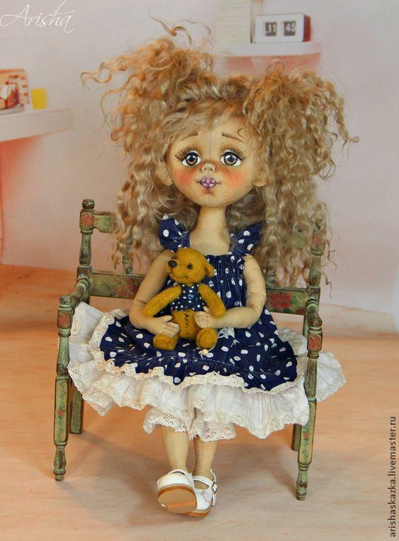 Купить Маленькая Вишенка . Кукла авторская коллекционная текстильная . Ариша - тёмно-синий, розовый, девочка:
