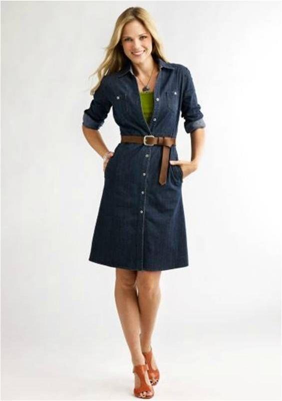 The stylish Women's Denim Shirt dress denim shirt dress; great for ...