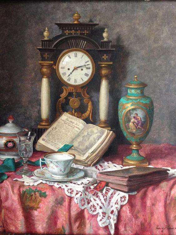 Franz Krischke (1885-1960) —  Still Life with Clock   (900×1200)