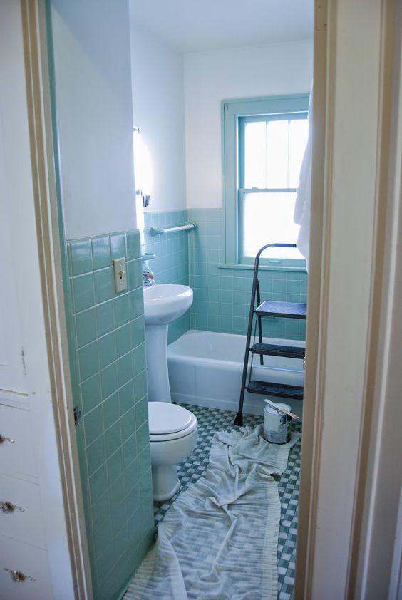 Bathroom Gets An Overhaul Fresh White Paint With Seafoam