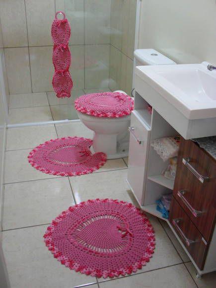 Jogo de banheiro coração rosa  Ems -> Pia De Banheiro Rosa