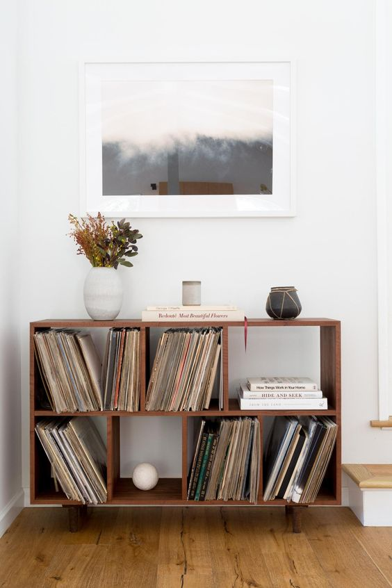 Vintage vinyl collection at Jenni Kayne president Julia Hunter's LA home.