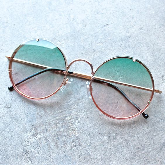 spitfire poolside in gold & blue / pink gradient round sunglasses – shop hearts