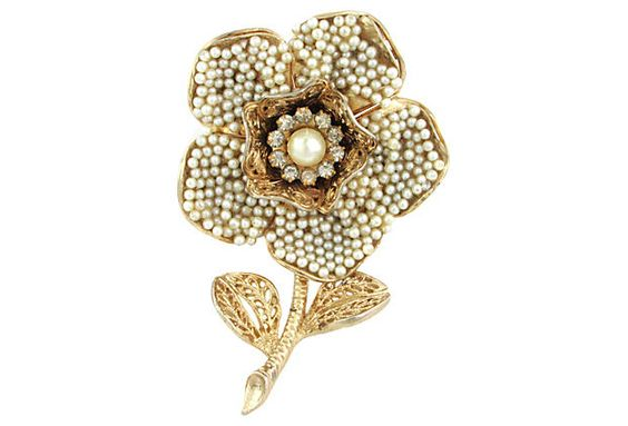 Signed Coro Seed Pearl Brooch by Ruby + George on @One Kings Lane