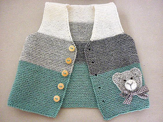 Hand knit baby vest /cardigan / with Teddy.Unisex baby: