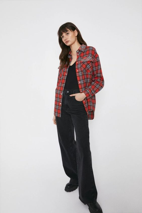 Studded Detail Checked Shirt Warehouse