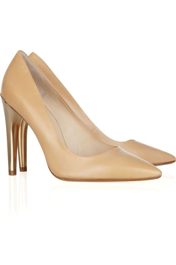 Nude is always appropriate, the gold heel gives them an edge#Michael Kors Elgin Leather Pumps