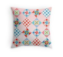 Country Days Patchwork on Pink throw pillow cushion by #PatriciaSheaDesigns on Redbubble