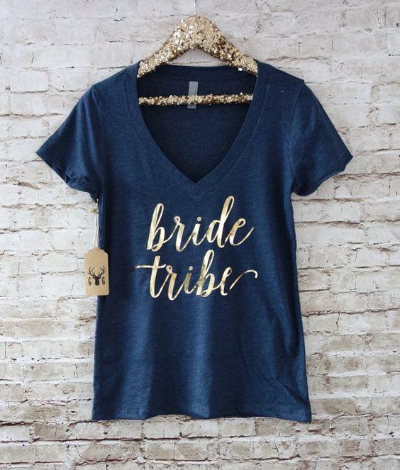 Bride Tribe Shirt - Bridesmaid Shirts - Gold Silver Vneck Shirt - Bachelorette…