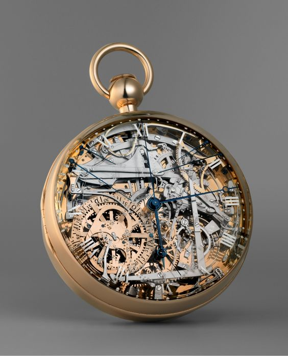 The Breguet No. 160 grand complication, A.K.A. the Marie-Antoinette, is a case watch designed by Swiss watchmaker Abraham-Louis Breguet. Work on the watch was begun in 1782 and completed in 1827, four years after Breguet's death. (Clock,   Perpetual calendar,   Minute repeater,   Thermometer,   Chronograph,   Power reserve,   Pare-Chute)