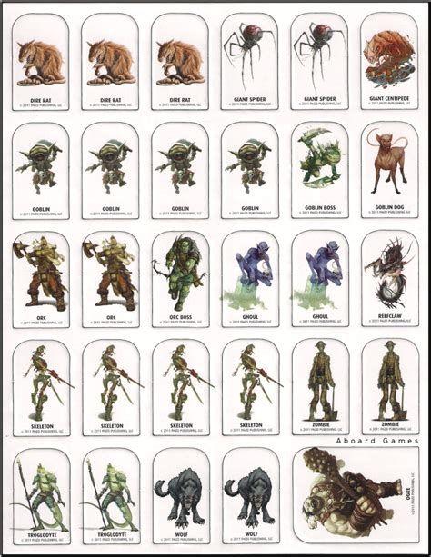 Pathfinder Monster Tokens Printable Bing Monster Cards Dnd Miniatures Printable Heroes