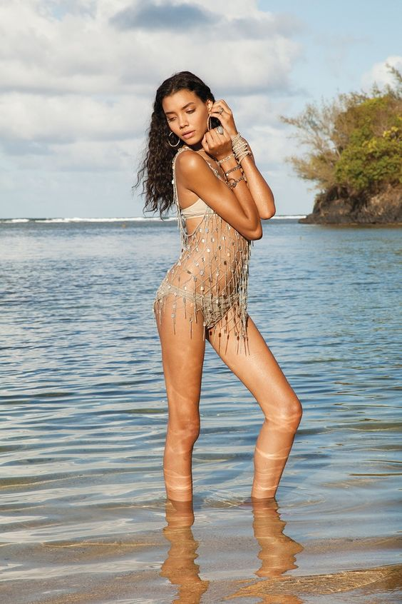Here comes the sun! Bikini in nude, Beaded top, Bracelets by Chan Luu