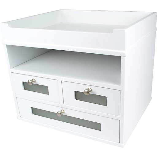 Victor Wood Desk Organizer Tidy Tower Pure White At Staples In 2020 Leather Desk Leather Desk Organizer White Desk Organiser