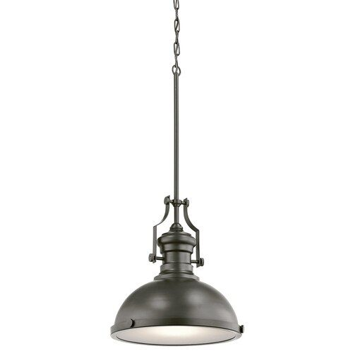 Kichler Bronze Frosted Glass Dome Led Pendant Light At Lowes Com
