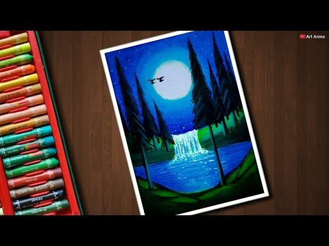 Aurora Night Drawing With Oil Pastels For Beginners Step By Step Youtube Oil Pastel Colours Oil Pastel Waterfall Scenery