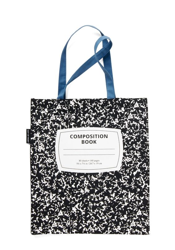 Carry Your Composition Tote. Now its easier than ever to carry your manuscript to the corner cafe with this notebook-inspired tote by Out of Print. #black #modcloth