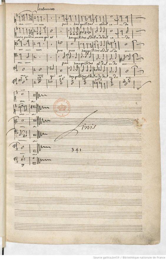 Manuscrit de Marc-Antoine Charpentier -  1686-1690 - Motets du 17e siècle