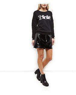 Black Spooky Emoji Sweatshirt   New Look