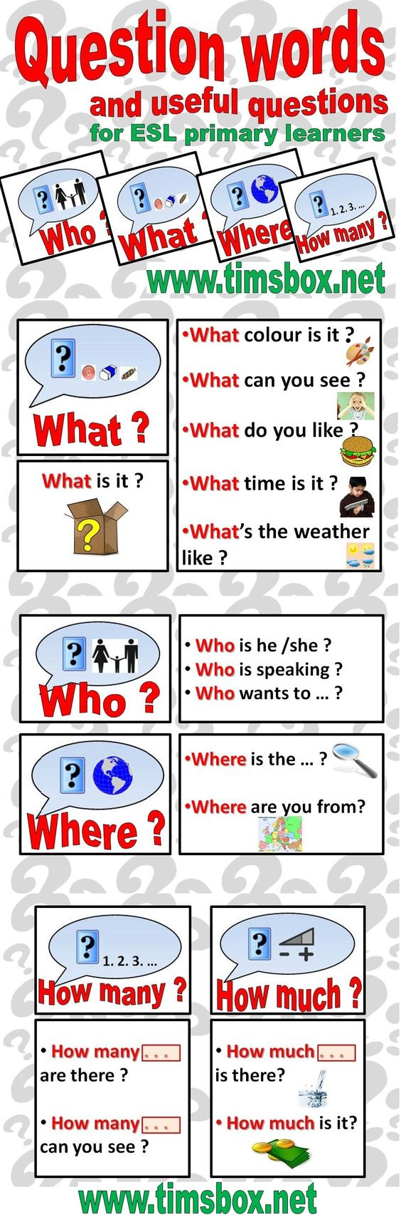 esl question words and useful questions - Primary ESL learners