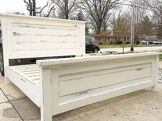 Distressed White Farmhouse Bed Mcnelly Farmhouse Farmhouse Bedroom Furniture Farmhouse Bed Frame Diy King Bed