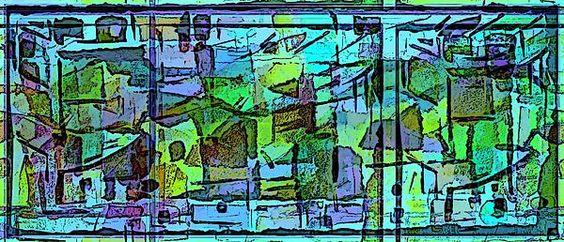 abstract digital design watercolor mural